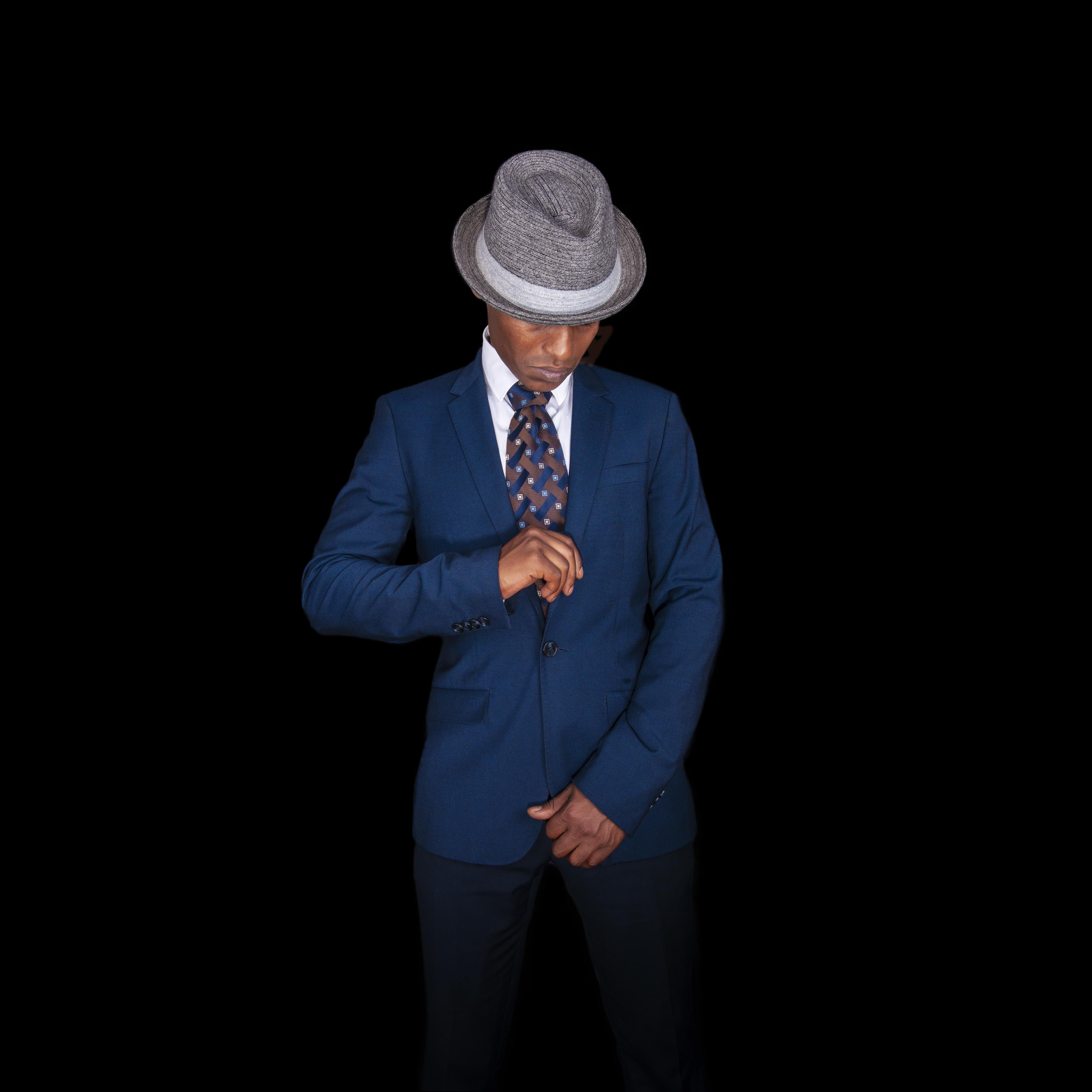 Blue suited man